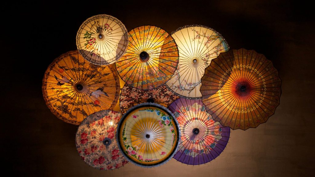 Asian umbrellas repurposed as a lampshade.